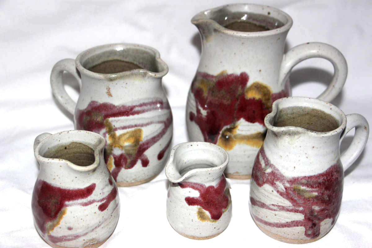 Alan-gaillard-irish-pottery-connemara-stoneware-jugs-copper-red-range