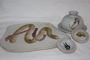 alan-gaillard-irish-pottery-connemara-stoneware-cheese-platter-butter-dishes